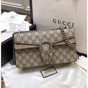 lash NEW Gucci Beige Ebony GG Dionysus Shoulder Ba